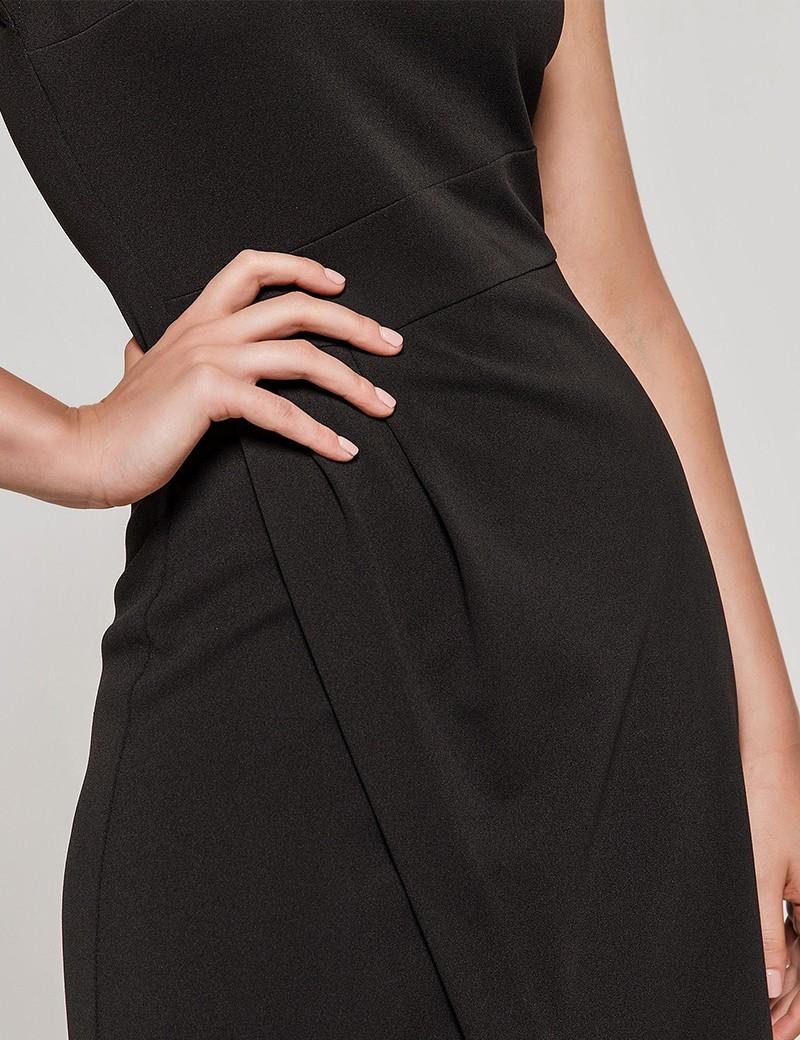 Φόρεμα αμάνικο με ασύμμετρο τελείωμα μαύρο ACCESS FASHION