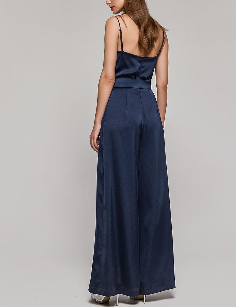 Φόρμα ολόσωμη σατέν μπλε SPELL by ACCESS FASHION