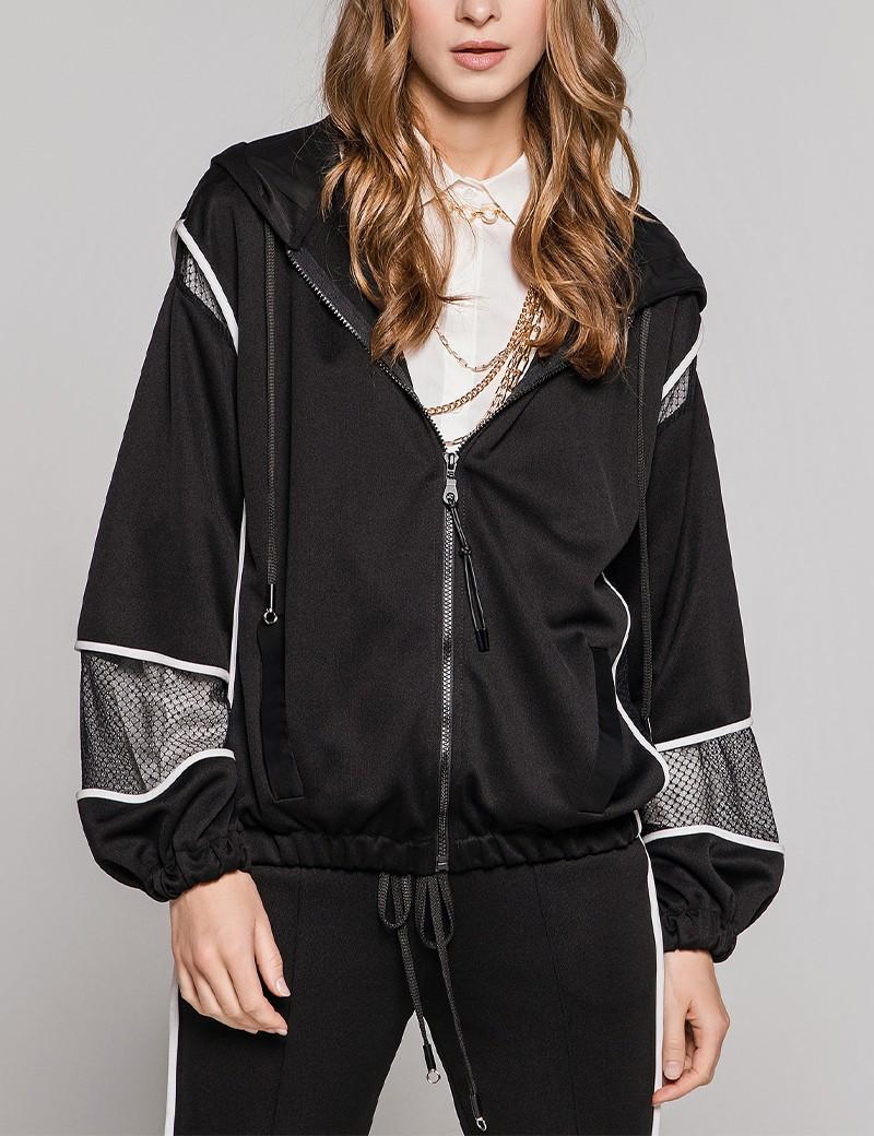 Bomber jacket με λεπτομέρειες από δίχτυ EIGHT by ACCESS FASHION