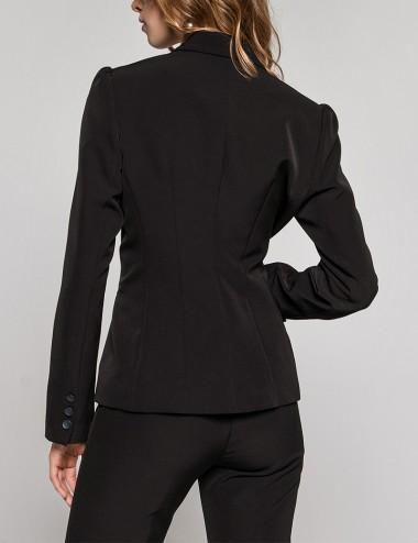 Σακάκι μπλέιζερ με ρελιαστές τσέπες μαύρο ACCESS FASHION