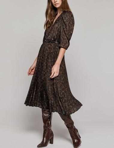 Φόρεμα μίντι πλισέ με print EIGHT by ACCESS FASHION