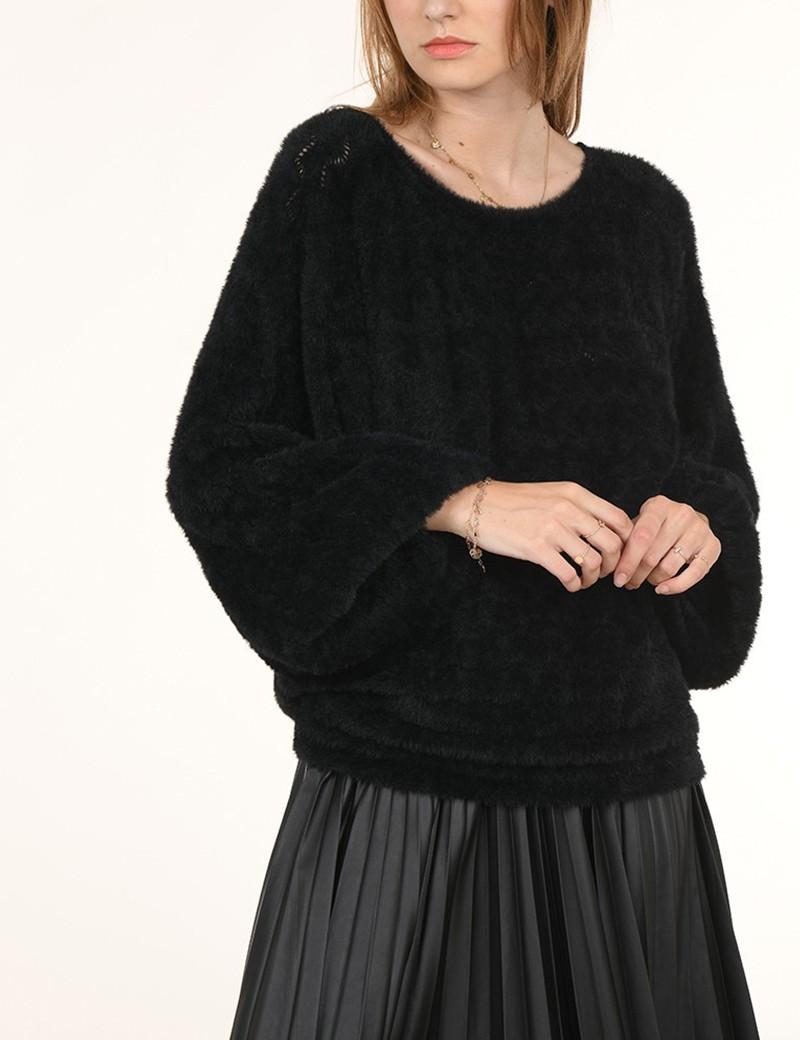 Μπλούζα πλεκτή soft touch μαύρη MOLLY BRACKEN