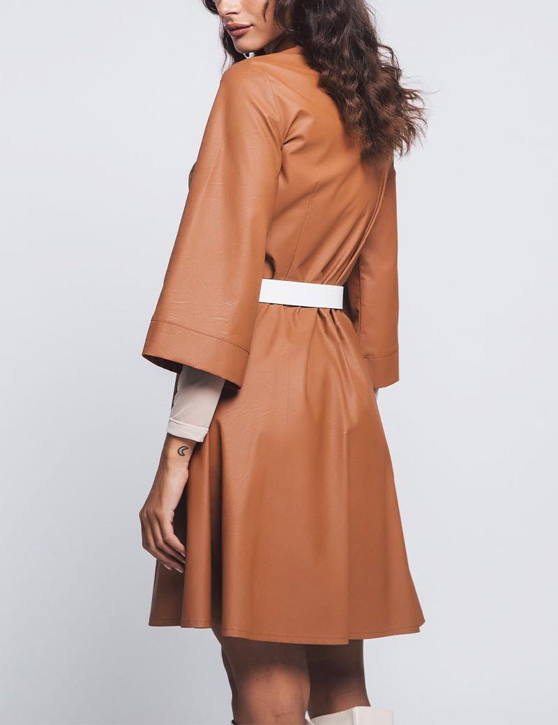 Φόρεμα σεμιζιέ από δερματίνη ZAZU FASHION