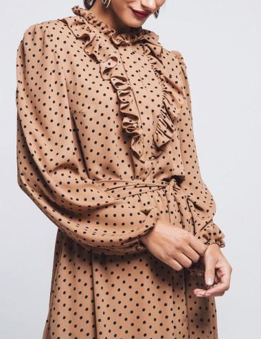 Φόρεμα πουά με βολάν ZAZU FASHION