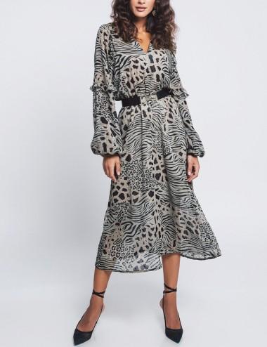 Φόρεμα μίντι με print ZAZU FASHION