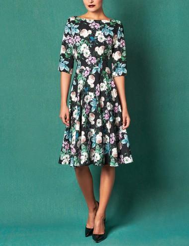 Φόρεμα φλοράλ με λούκια