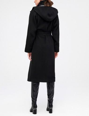 Παλτό βελούρ με κουκούλα και αντιανεμικό FOREL