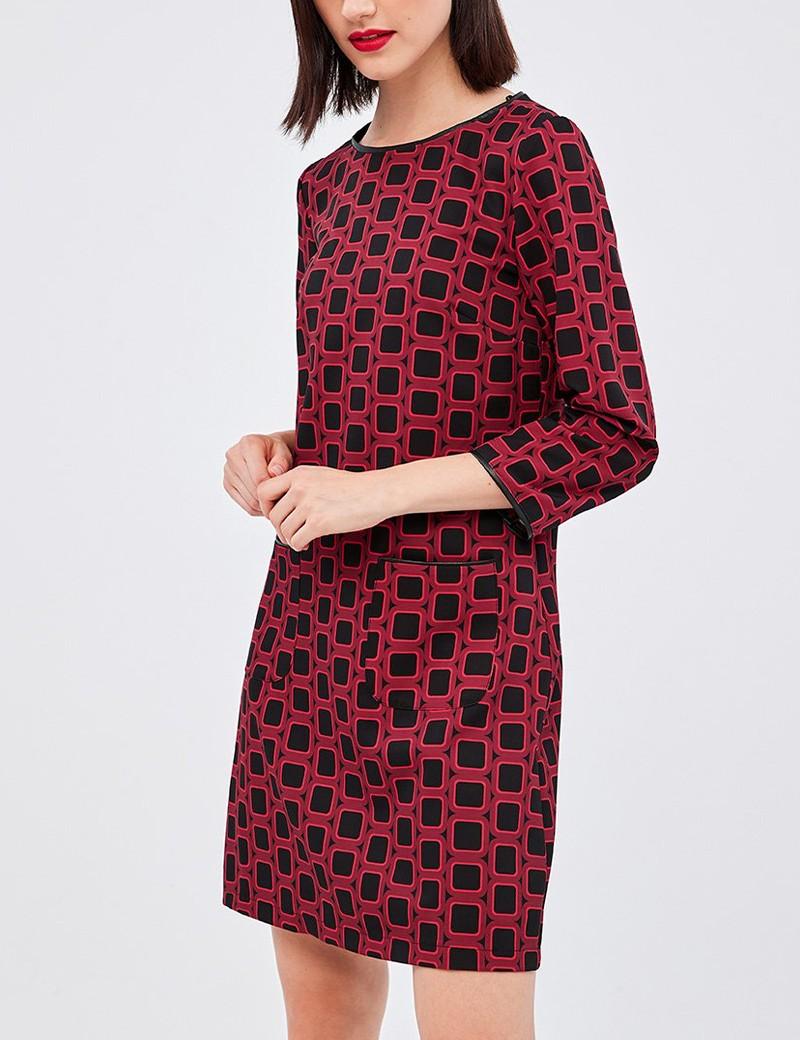 Φόρεμα σάκος με λεπτομέρειες δερματίνης FOREL