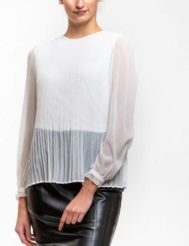 Μπλούζα πλισέ με διαφάνεια ΤΙΝΤΑ