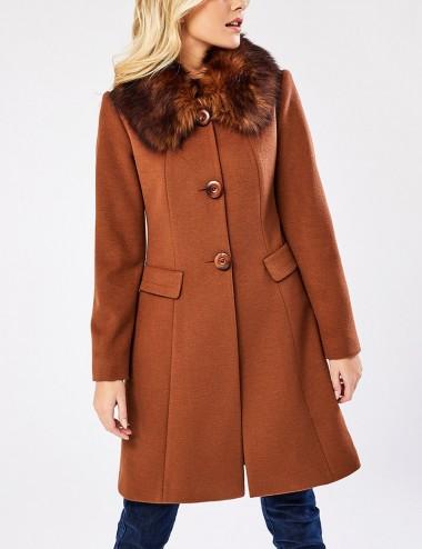 Παλτό με γούνινο γιακά FOREL