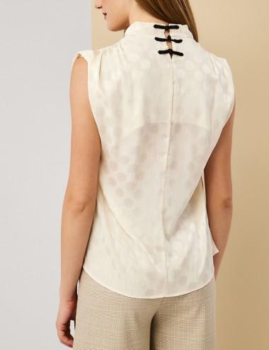 Μπλούζα πουά με ντραπέ λαιμό FOREL