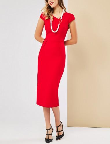 Φόρεμα midi με άνοιγμα στην πλάτη FOREL