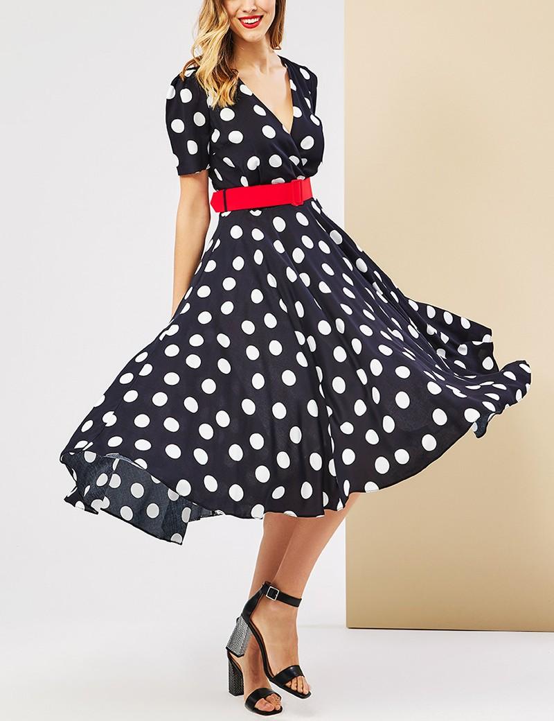 Φόρεμα κρουαζέ με ζώνη FOREL