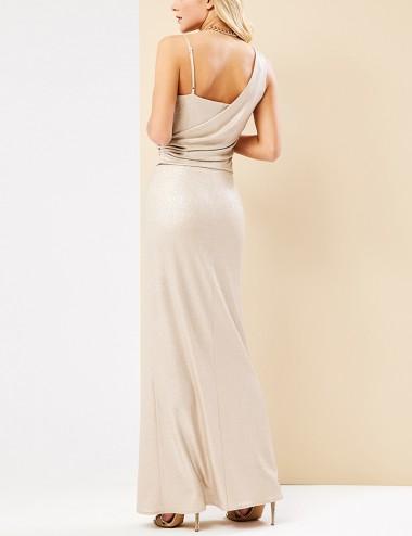 Φόρεμα μάξι λαμέ με έναν ώμο