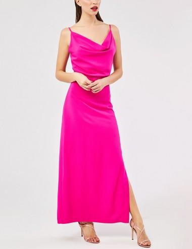 Φόρεμα μάξι ντραπέ με σκίσιμο στο πλάι FOREL