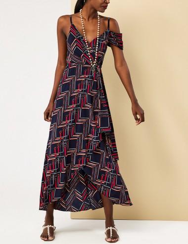Φόρεμα μάξι κρουαζέ με print FOREL