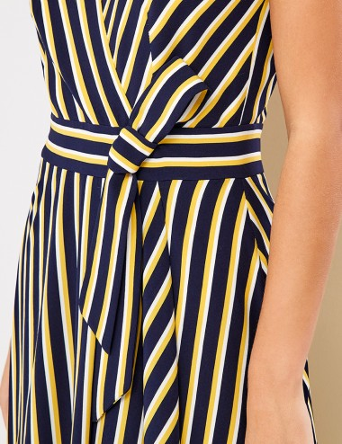 Φόρεμα μάξι ριγέ με ζώνη FOREL