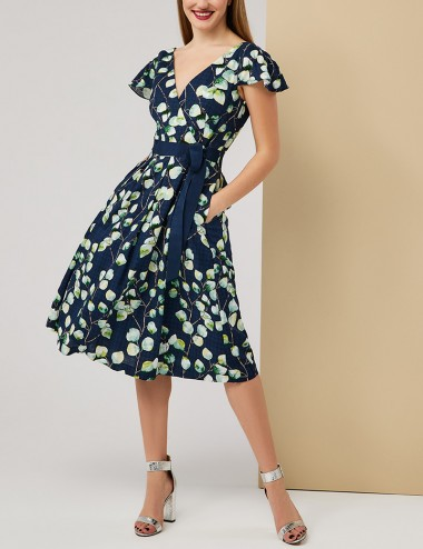 Φόρεμα φλοράλ κρουαζέ με πιέτες FOREL