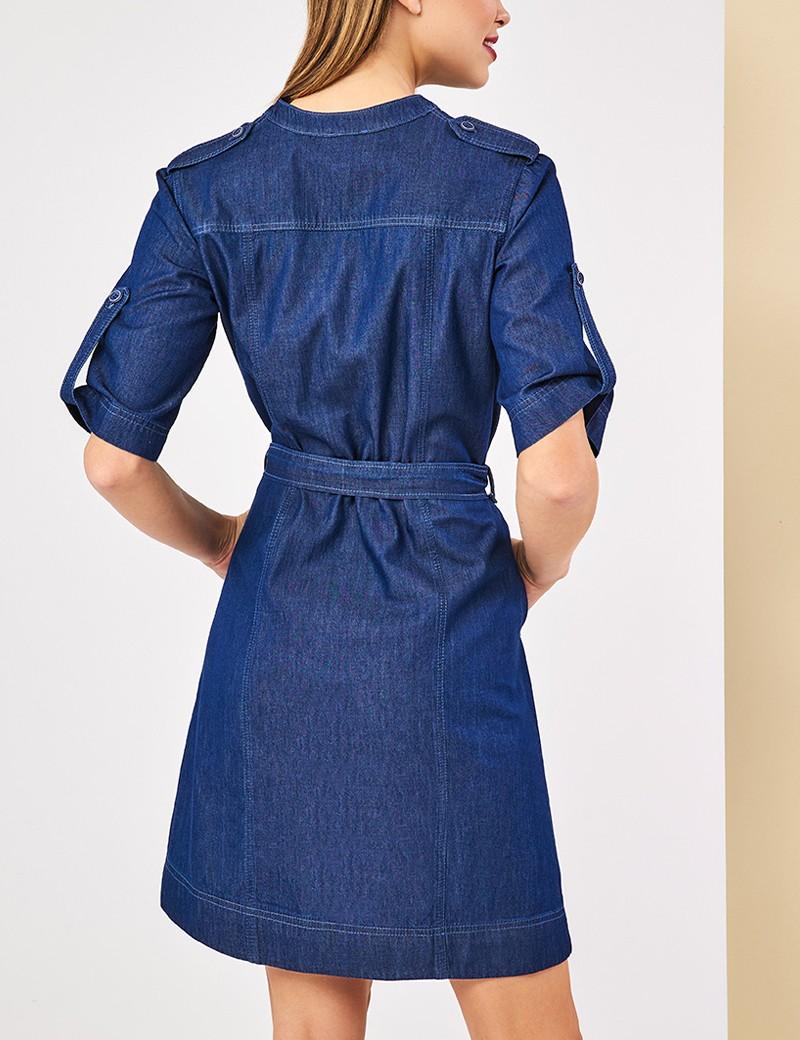 Φόρεμα τζην με τσέπες FOREL