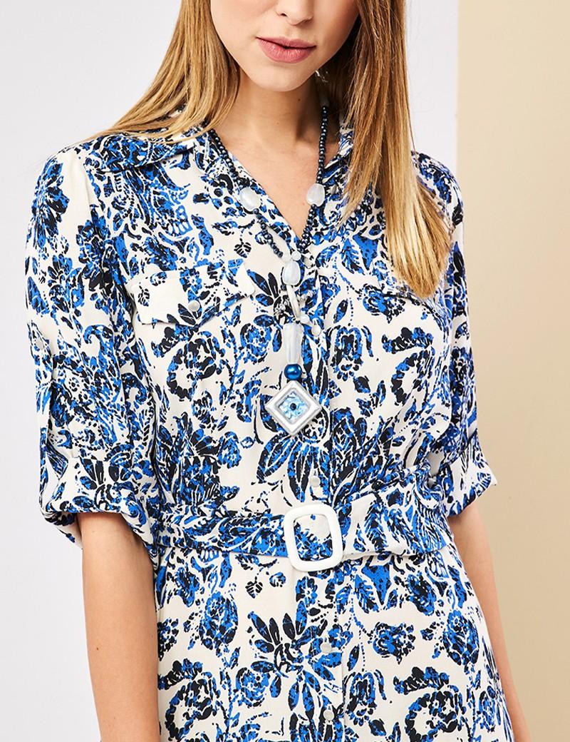 Φόρεμα σεμιζιέ φλοράλ FOREL