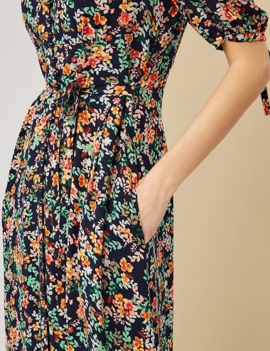 Φόρεμα φλοράλ με δέσιμο στη μέση FOREL