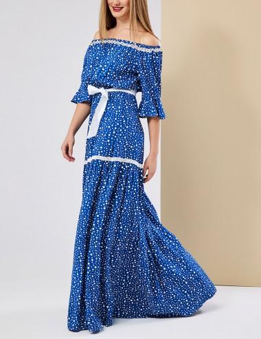 Φόρεμα έξωμο πουά με βολάν FOREL