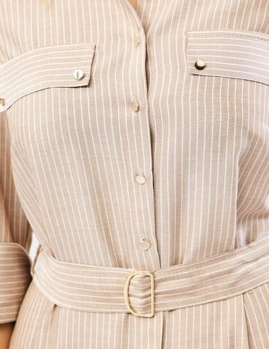 Φόρεμα σεμιζιέ ριγέ FOREL
