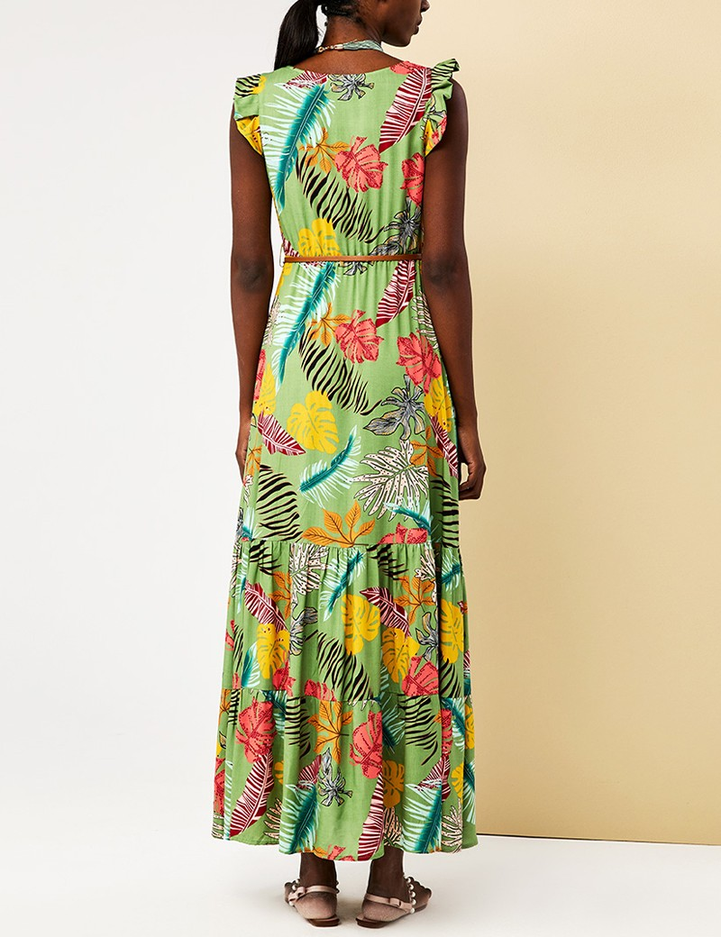 Φόρεμα αμάνικο φλοράλ με βολάν FOREL