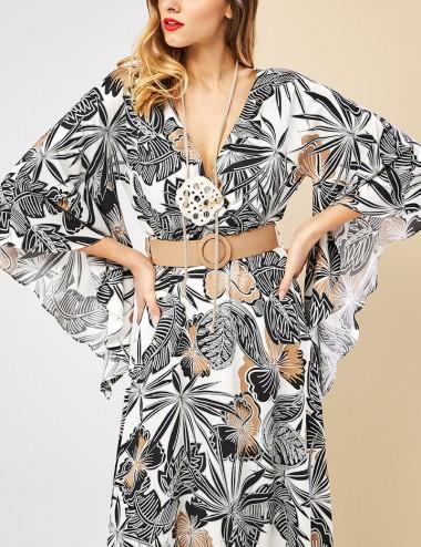 Φόρεμα καφτάνι με φλοράλ print FOREL
