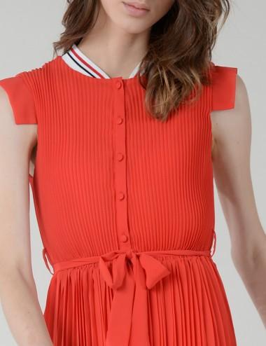 Φόρεμα πλισέ με ριγέ κολάρο LILI SIDONIO