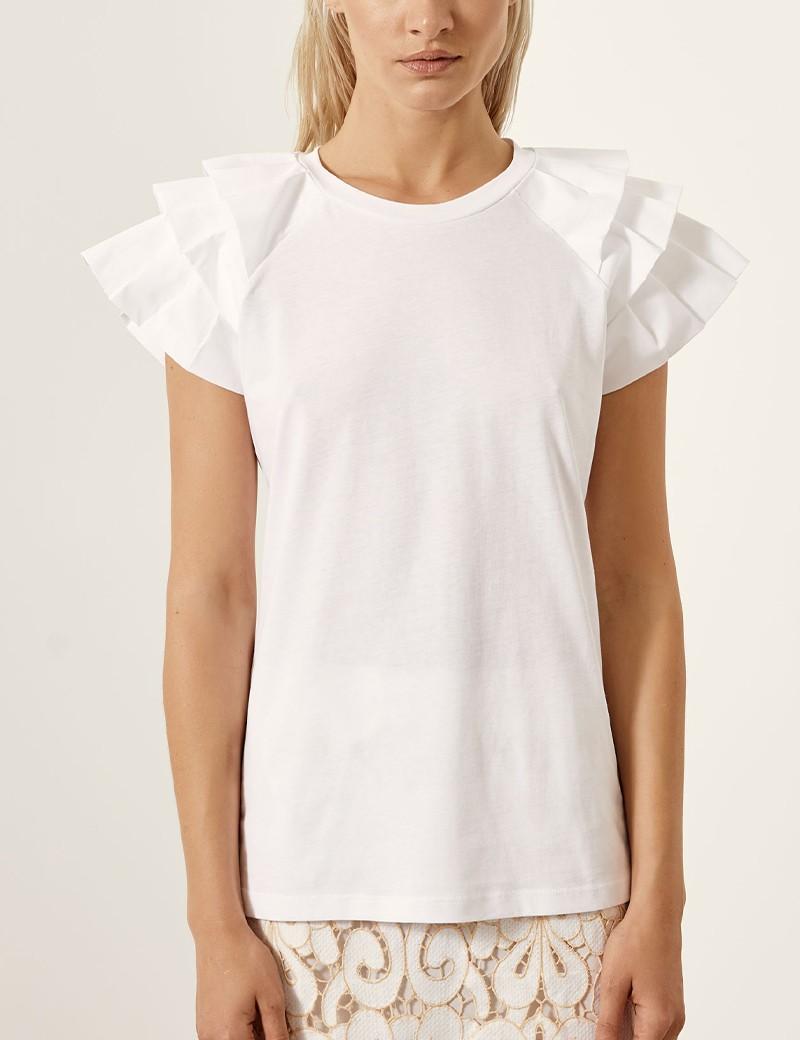Βαμβακερή μπλούζα με βολάν στους ώμους ACCESS FASHION