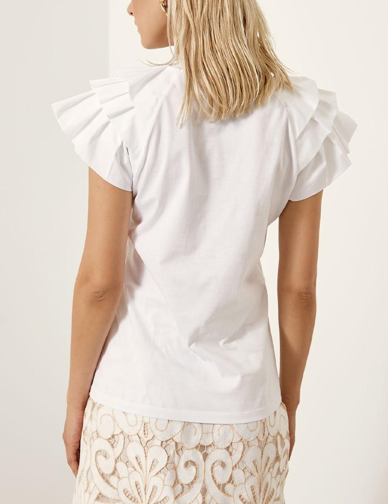 Βαμβακερή μπλούζα με βολάν στους ώμους