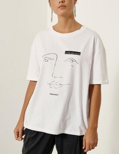 Βαμβακερή φαρδιά μπλούζα με σχέδιο EIGHT by ACCESS FASHION