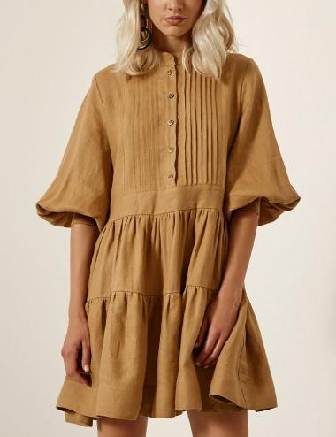 Φόρεμα λινό με πιέτες και βολάν ACCESS FASHION