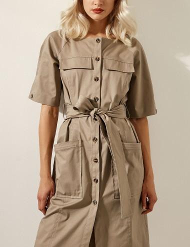 Φόρεμα σεμιζιέ με τσέπες και ζώνη ACCESS FASHION