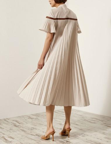 Φόρεμα πλισσέ με λεπτομέρεια δερματίνης ACCESS FASHION
