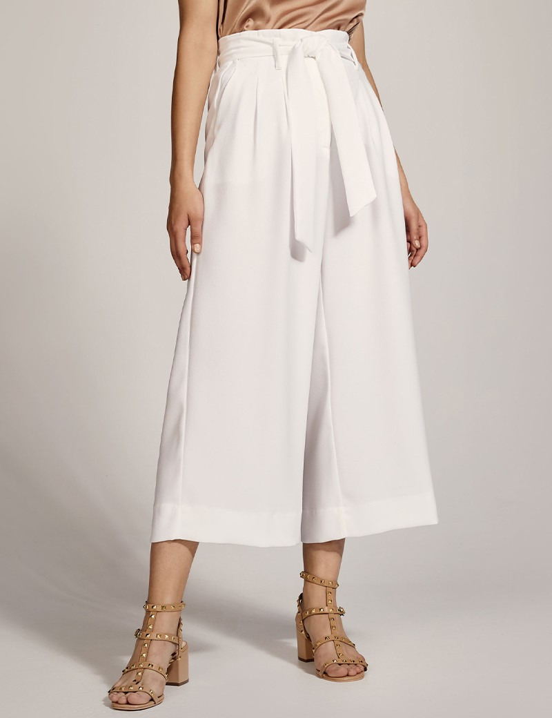Cropped wide-leg pants with belt ACCESS FASHION
