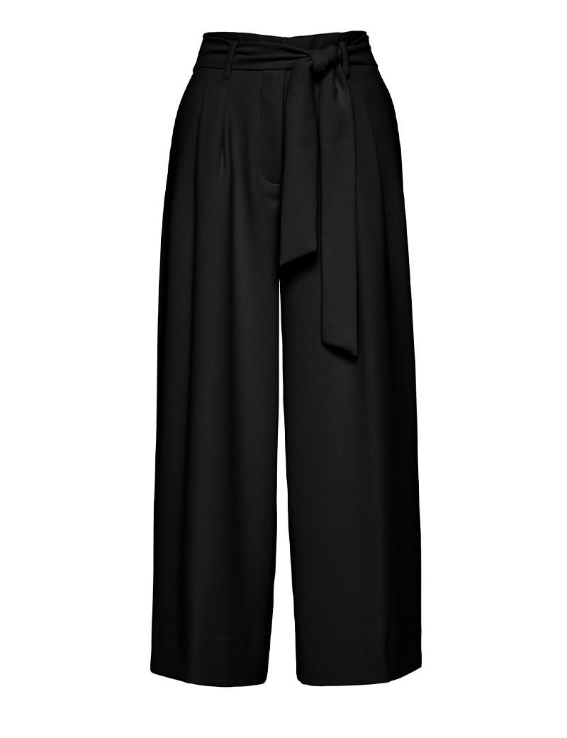 Παντελόνι φαρδύ με πιέτες και δετή ζώνη ACCESS FASHION