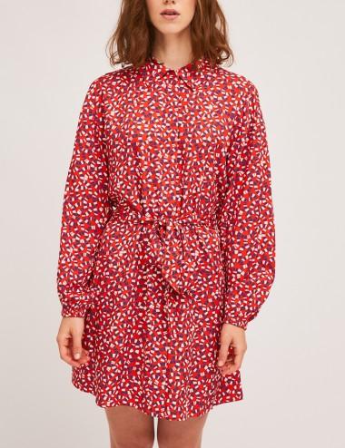Φόρεμα μίνι σεμιζιέ με ναυτικό print COMPANIA FANTASTICA