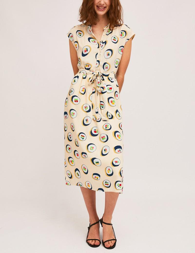 Φόρεμα μίντι σεμιζιέ με print sushi SP21HAN02 COMPANIA FANTASTICA