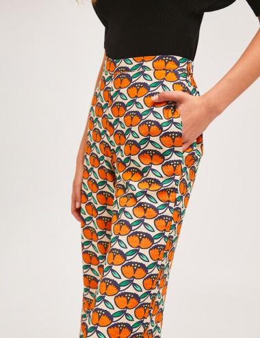 Παντελόνι αστραγάλου straight leg με print SP21HAN09  COMPANIA FANTASTICA
