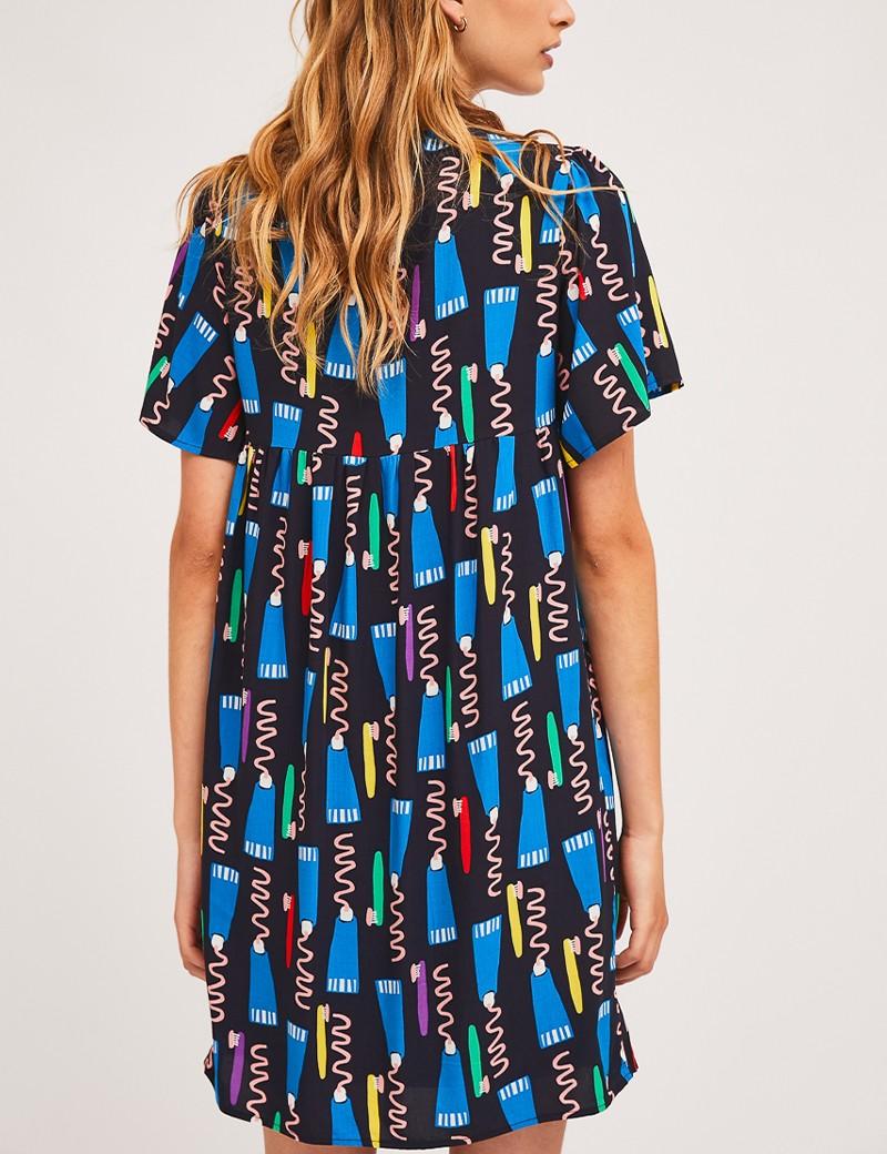 Φόρεμα σε γραμμή άλφα με print SP21HAN11  COMPANIA FANTASTICA