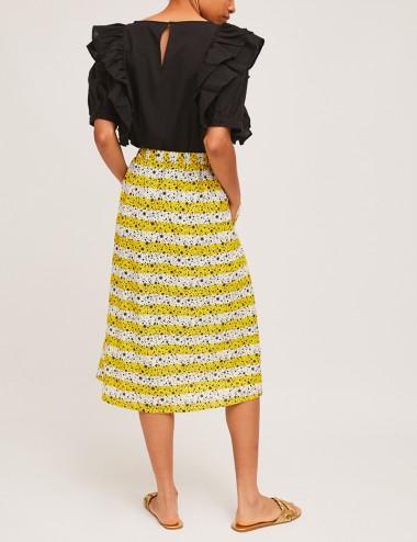 Φούστα μίντι βαμβακερή με λάστιχο πίσω COMPANIA FANTASTICA