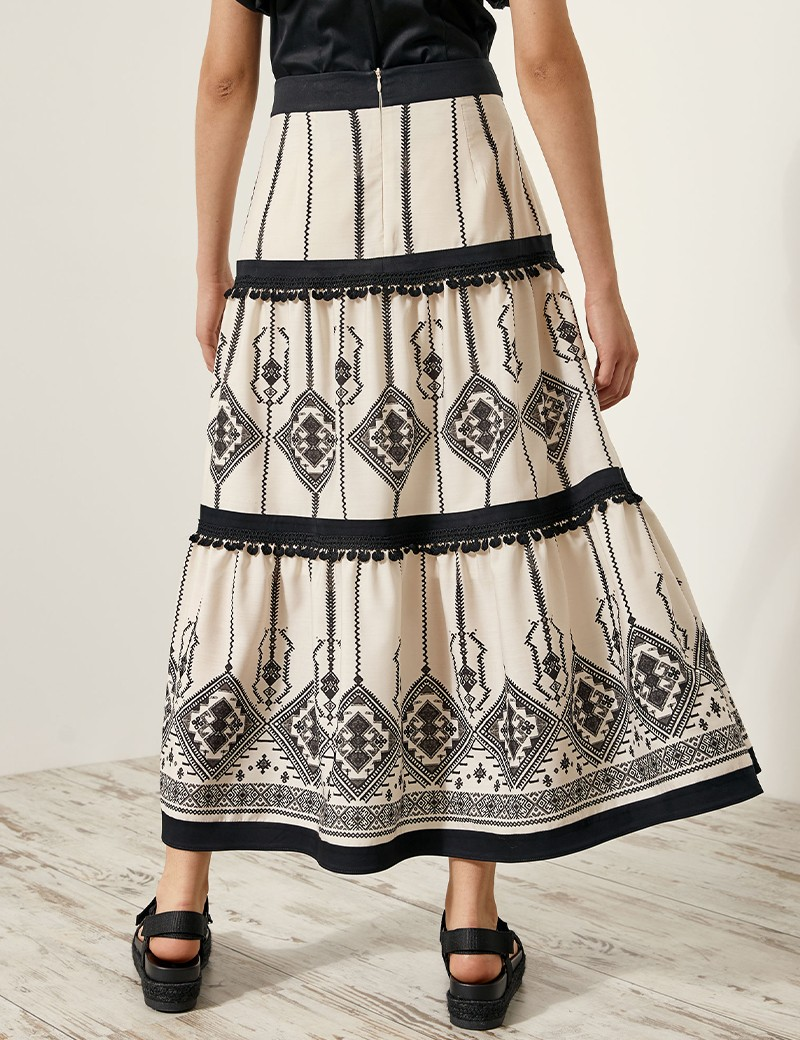 Midi skirt with ethnik print SPELL by ACCESS FASHION