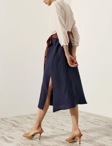 Φόρεμα σεμιζιέ δίχρωμο με σκίσιματα ACCESS FASHION