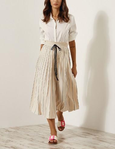 Φούστα πλισέ με ρίγες και λάστιχο EIGHT by ACCESS FASHION