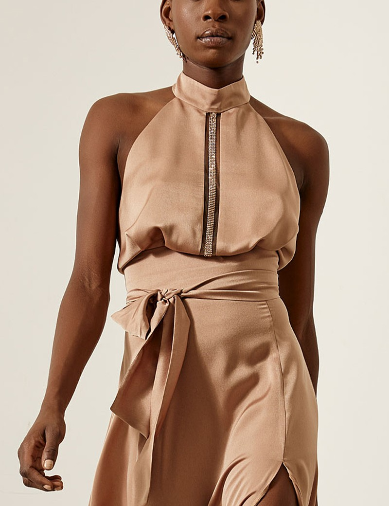 Halter neck blouse in satin look ACCESS FASHION