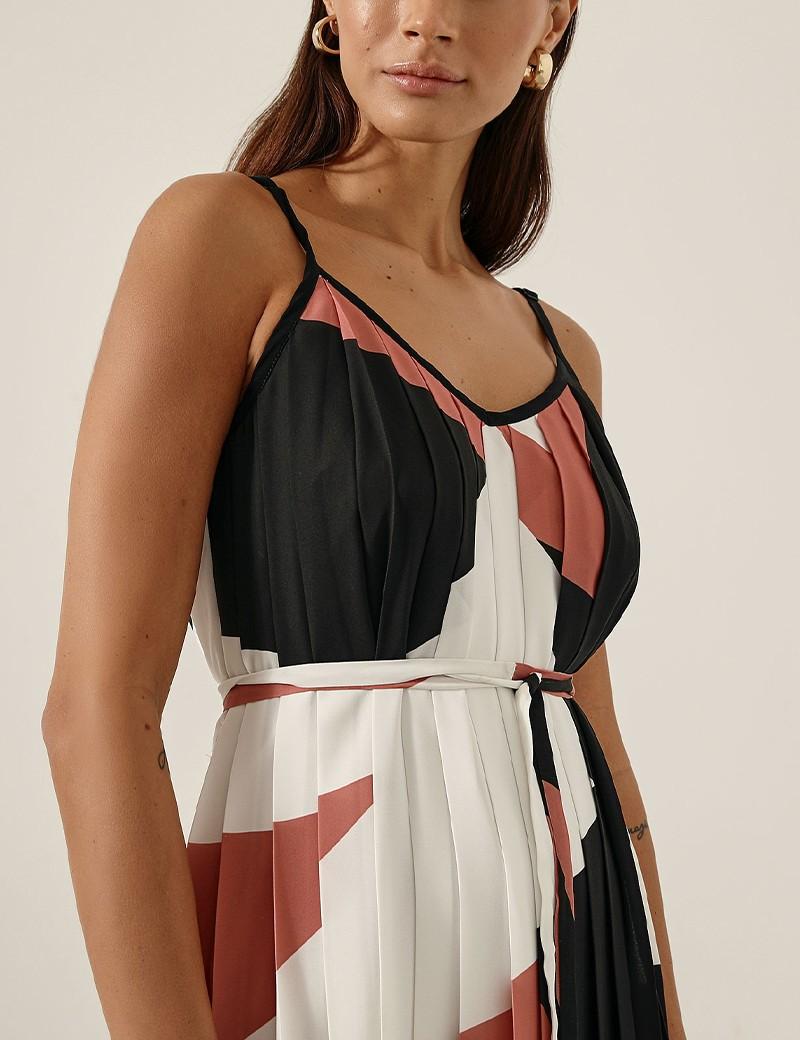 Φόρεμα πλισέ με print ACCESS FASHION