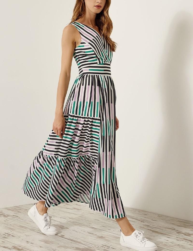Φόρεμα μίντι με χρωματιστές ρίγες SPELL by ACCESS FASHION