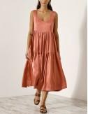 Φόρεμα με ραφές και βολάν